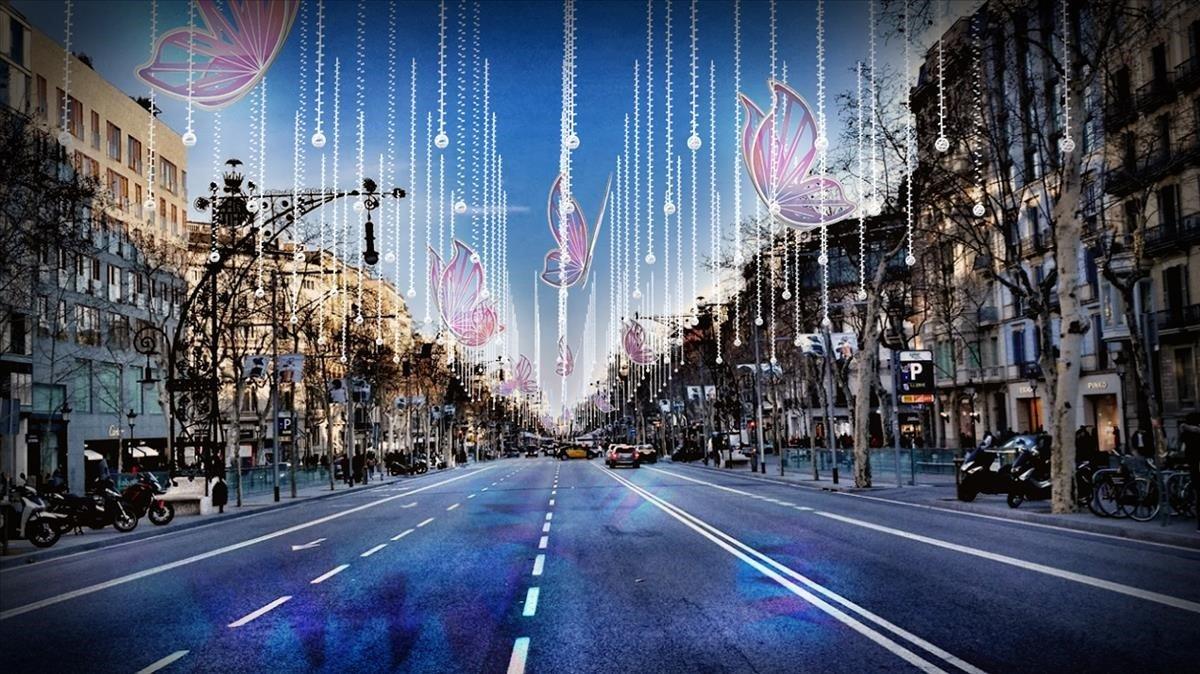 Representación de la nueva decoración del paseo de Gràcia en horario diurno