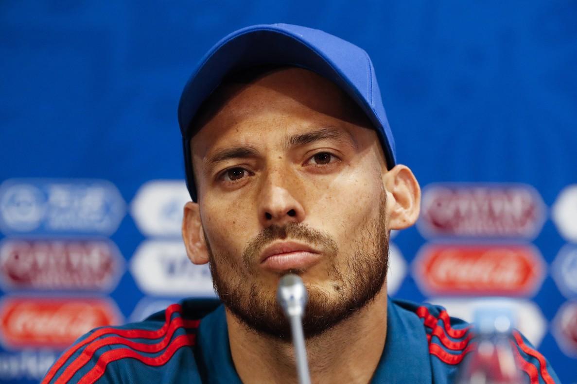 David Silva durante una rueda de prensa en el último Mundial.