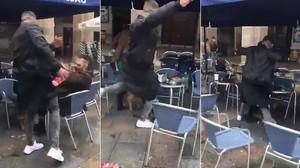 Imágenes del vídeo de la agresión de un ultra del Betis a un joven en Bilbao.