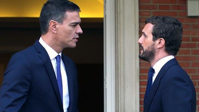 Sánchez y Casado se reúnen para hablar de Catalunya, economía y el CGPJ.