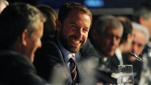 El seleccionador inglés, Gareth Southgate, en el sorteo de Dublín.