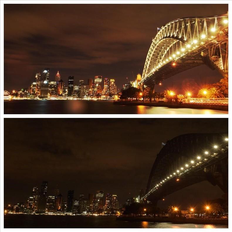 El skyline de Sídney, antes y después de unapagón por La Hora del Planeta.