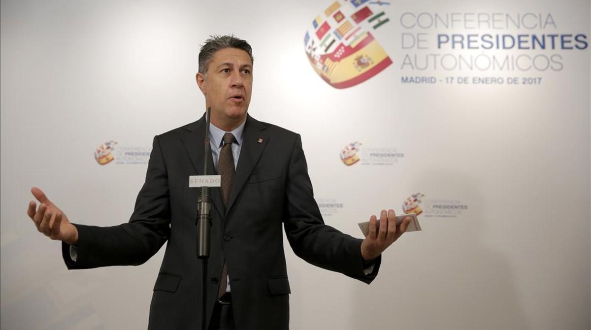 El coordinador del PPC, Xavier García Albiol, este martes en el Senado, donde se celebra la sextaconferencia de presidentes.