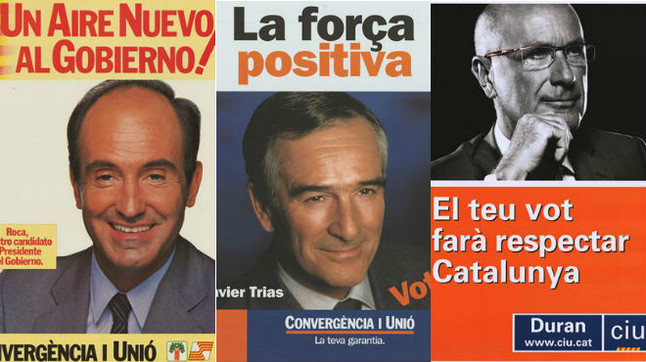Tres de los carteles con los que CiU concurrió a las elecciones generales.