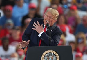 El presidente de los Estados Unidos, Donald Trump, en un evento de campaña.