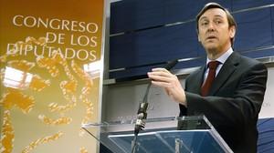 El portavoz del PP en el Congreso, Rafael Hernando, este jueves en el Congreso.