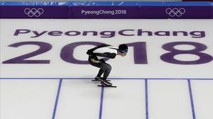 Sesión de entrenamiento de patinaje de velocidad en los Juegos de Invierno 2018.