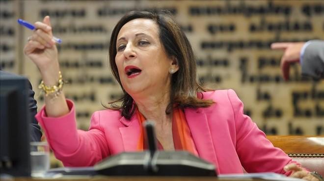La ministra de Defensa, Margarita Robles, este lunes en el Senado.