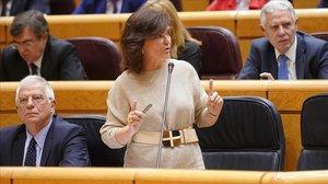 Carmen Calvo, este martes en el Senado.
