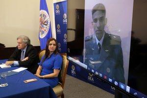 La abogada Tamara Sujuhabla en la OEA sobre torturas en Venezuela. AFP