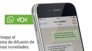 Una imagen promocional de la listade difusión de Vox.