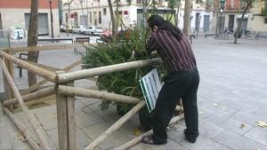 Un vecino coloca un abeto en un punto de recogida habilitado en el Poble Sec, el año pasado.