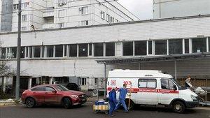 Imagen del hospital Spasokukotsky, que ha sufrido un incendio en sus instalaciones este sábado.