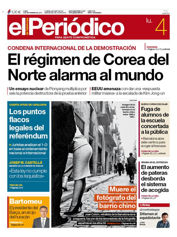 La portada de el peri dico del 4 de septiembre del 2017 Ultimas noticias de espectaculos internacionales