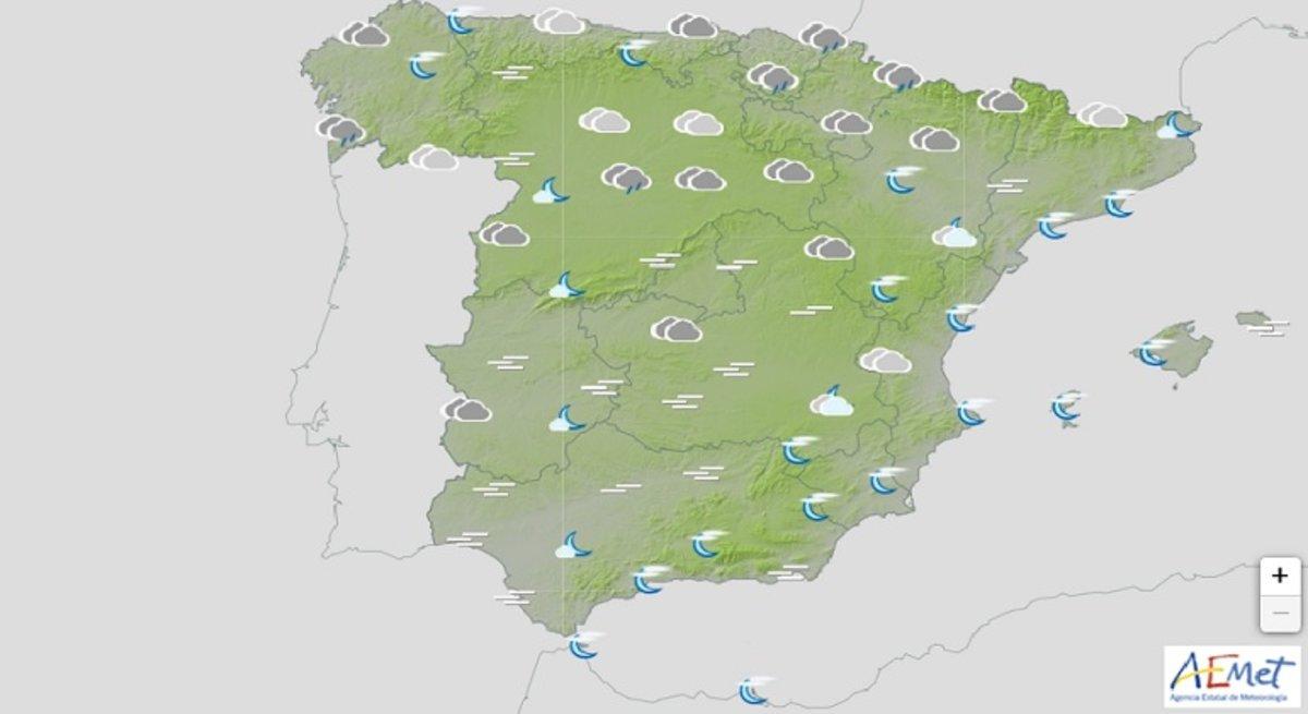 Pronóstico del tiempo para toda España.