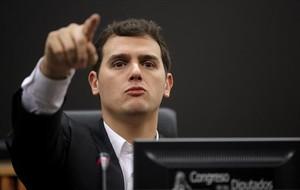 Albert Rivera, durante la rueda de prensa que ofreció el 8 de enero después de la reunión del grupo parlamentario en el Congreso.