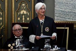 GRAF8848. MADRID, 09/09/2019.- La fiscal general del Estado, María José Segarra, durante su intervención este lunes en el acto de apertura del año judicial en el Salón de Plenos del Tribunal Supremo. EFE/ Mariscal ***POOL***