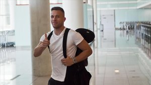 Arthur Melo, en el aeropuerto de Barcelona.