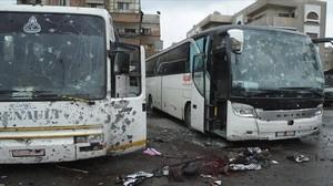 Efectos de los atentadosen Damasco.