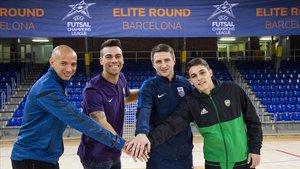 Los capitanes del Ekonomac, Barça, Ugra y Record, este miércoles en el Palau Blaugrana