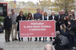 Carme Chacón, Miquel Iceta, José Montilla y Carles Martí, en la rambla 11 de Setembre de la Sagrera, en Barcelona.