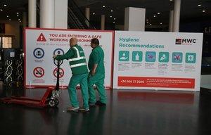Un cartel con recomendaciones de higiene que se instalará en el Mobile World Congress 2020.