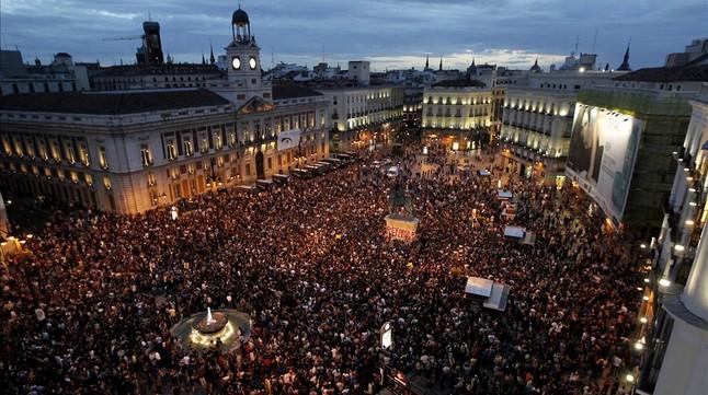 Concentración del 15-M en la Puerta del Sol, en mayo del 2011.