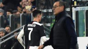 Cristiano se fue directamente a los vestuarios tras ser sustituido por Sarri en el Juve-Milan.
