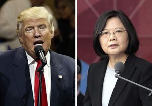 Donald Trump, presidente de EEUU, y Tsai Ing-wen, su homóloga de Taiwán.