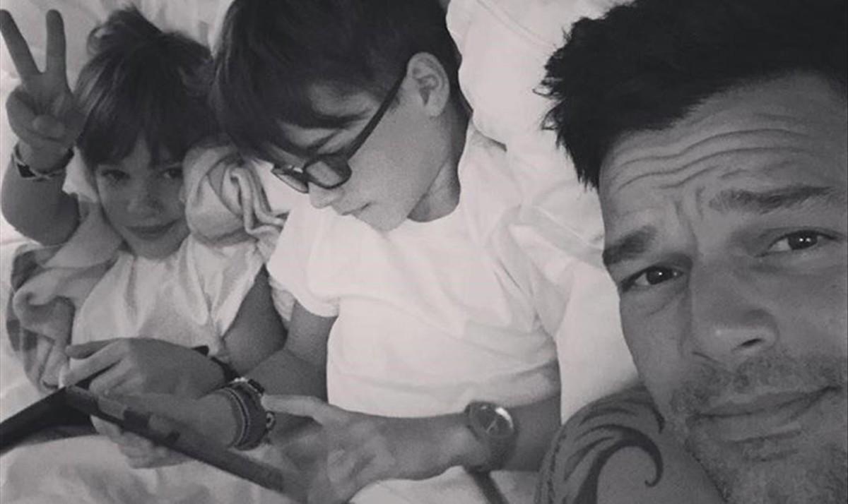 Ricky Martin, con sus hijos.