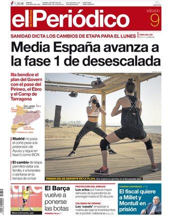 La portada d'EL PERIÓDICO del 9 de maig del 2020