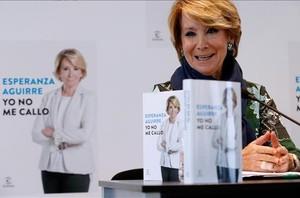 La expresidenta del PP de Madrid, Esperanza Aguirre, en la presentación de su libro.