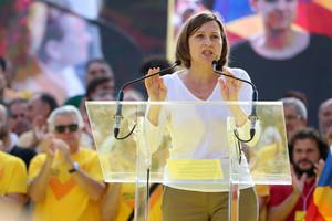 Fotografia d'arxiu. Forcadell, durant un acte de l'ANC per la unitat política davant el procés a la plaça de Catalunya.