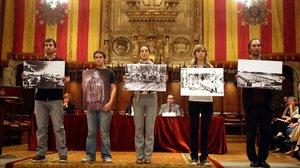 Homenaje a las deportadas al campo de Ravensbruck en el Ayuntamiento de Barcelona, en el 2009.