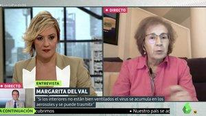 Margarita de Val junto a Cristina Pardo en 'Liarla Pardo'. /ATRESMEDIA