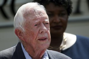 FILE- In this Sept 18 2018 file photo former President Jimmy Carter speaks during a news conference in Plains Ga A spokeswoman says former U S President Jimmy Carter says he has broken his hip She said that Carter underwent surgery at a medical center in Americus Ga AP Photo John Bazemore File