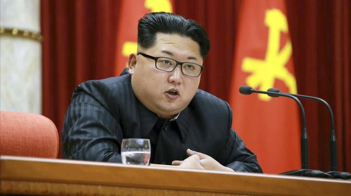 Kim Jong-un, durante un discurso en Pionyang, el 12 de enero.