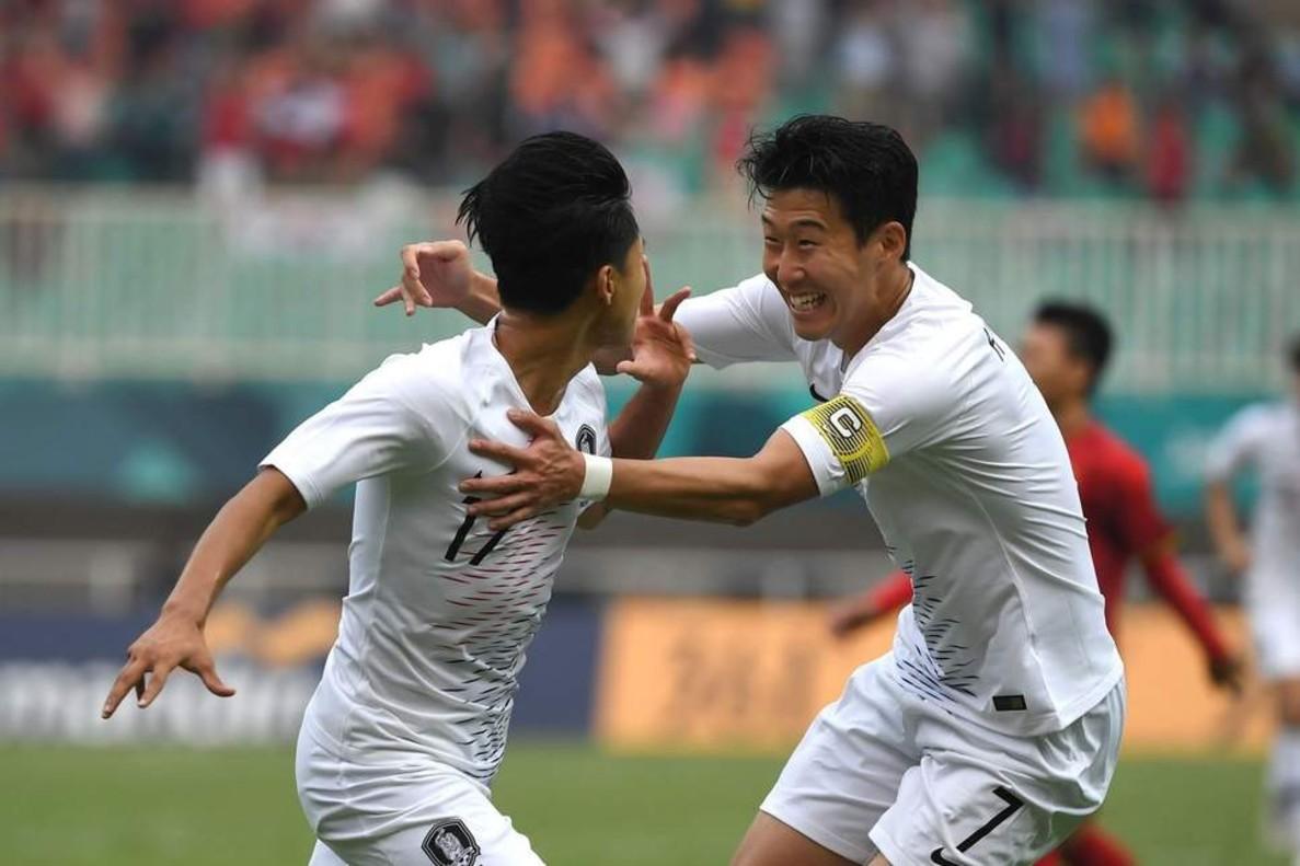 Heung-Min Son celebra en los Juegos Asiáticos