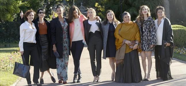 Las actricesde Vis a vis, en la recepción de los Ondas en el Palacete Albéniz.