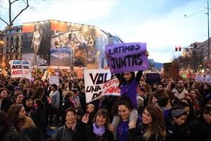 Manifestacióndel Día de la Mujer en Barcelona.