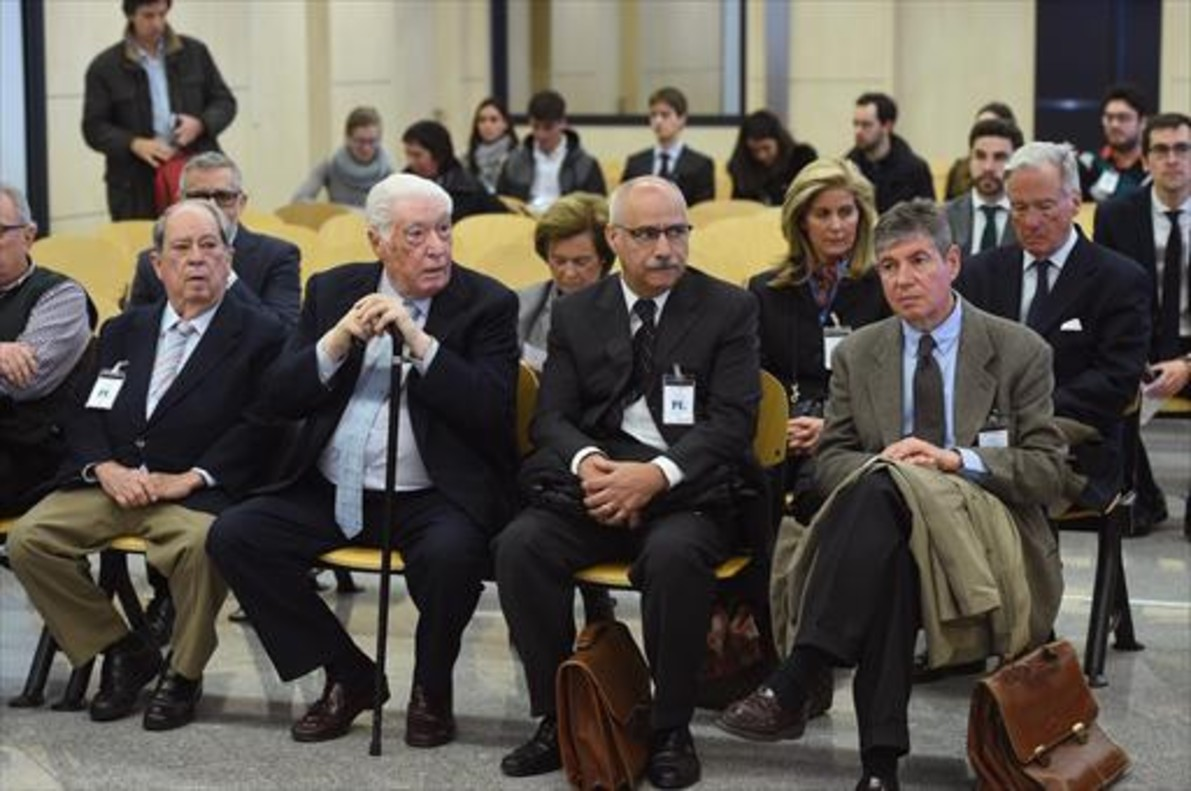 Lluís Prenafeta, Macià Alavedra, Luis Andrés García, y Bartomeu Muñoz, en el juicio.