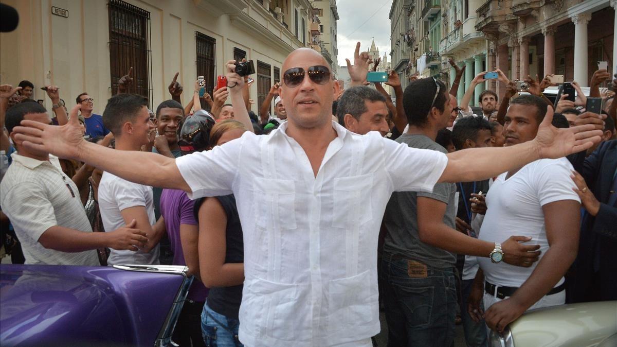El actor Vin Diesel, en La Habana.