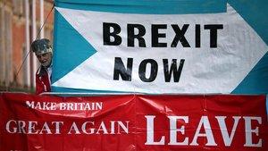 Un manifestante a favor del 'brexit', el pasado miércoles, ante el Tribunal Supremo británico.