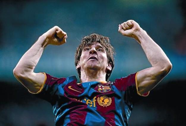 Messi festeja su primer gol al Madrid, el miércoles.