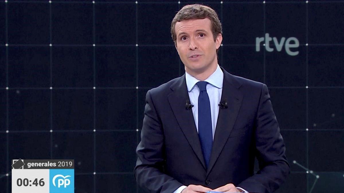 Pablo Casado, del PP, en el debate de TVE.