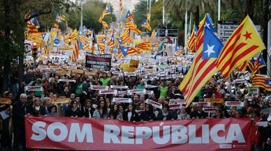 Manifestación convocada por la ANC y Òmnium el pasado 11 de noviembre en Barcelona para exigir la libertad de los 'exconsellers' y los líderes de las entidades encarcelados.