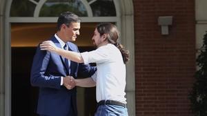 Pedro Sánchez y Pablo Iglesias, este jueves en el Congreso.