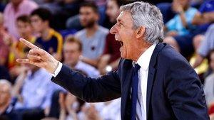 Pesic, técnico del Barça de baloncesto.