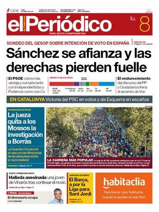 La portada de EL PERIÓDICO del 8 de abril del 2019