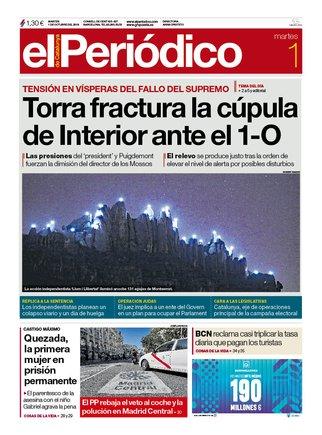 La portada de EL PERIÓDICO del 1 de octubre del 2019.
